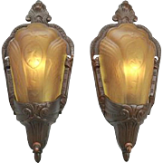 Art Deco Pair of Slip Shade Wall Sconces by Electrolier Circa 1934 (ANT-411)