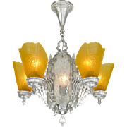 Art Deco Chandelier Circa 1930s with Amber Slip Shades & Cut Glass Center (ANT-477)