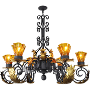 Gothic Style 6 Arm Black Iron and Steel Chandelier w/ Gold Details (ANT-514)
