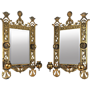 Eastlake Victorian Pair of Candle Sconces Brackets w/ Beveled Mirrors (ANT-524)