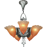 Art Deco Original 5 Light Slip Shade Ceiling Chandelier by Lincoln (ANT-543)