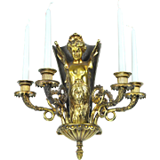Victorian Rococo French Candle Wall Sconces Holders with Angel Figure (ANT-564)