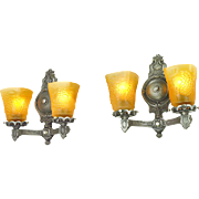 Edwardian Wall Sconces 1920s Two Arm Lights Grapevine Motif Fixtures (ANT-588)