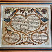 19th C. SE Pennsylvania Fractur Johann Conrad Trevits 1808