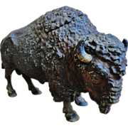 Antique Figural Buffalo Inkwell