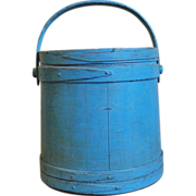 SALE Signed Hersey Wooden Firkin in Old Blue Paint