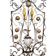 SOLD Early 20th C. Arts and Crafts Iron and Brass Fire Screen