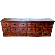 19th C. 18 Drawer Apothecary Chest in Old Red Paint
