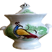 Small 19th C. Peafowl Spatterware Sugar Bowl