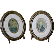 Pair of 18th Century Antique Miniature Watercolor Portraits in Wood Frames