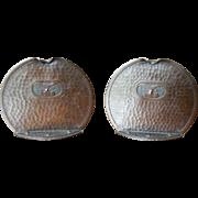 Roycroft Arts & Crafts Hammered Copper Toned Owl Motif Bookends ca 1910 -1915