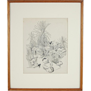 Vintage Original Signed Pen & Ink Drawing 18 Kitty Cats in Yard Frolicking