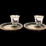 Vintage Pair Hand Painted Enameled Glass German Sheperd Dessert Sets Glass Plate