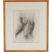 Vintage Pencil Drawing Nude Female Torso artist signed