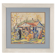 """1935 """"The Roadside Stand"""" Watercolor Painting Louis Weiner Chicago Artist"""