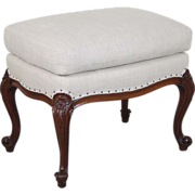 Vintage Carved French Style Bench Stool or Ottoman Cabriolet Legs New Uphy
