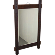 Rustic Arts & Crafts Salvaged Oak Wall Mirror Beveled Glass