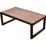Mid-Century Modern Dunbar Edward Wormley Leather Wrapped Coffee Cocktail Table
