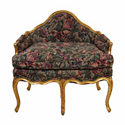 Louis XV Style Gilt Wood and Upholstered 5-Legged Chair or Settee