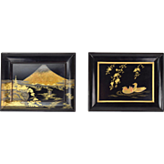 Lot of 2 Japanese Fine Lacquer Plaques depicting Mount Fuji and Ducks Signed