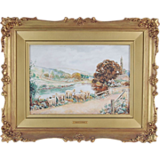 Antique English Countryside Pastoral Sheep Watercolor Painting Hedley S. Vicars
