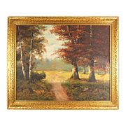 Beautiful Landscape Oil Painting October Day in Period Frame signed Weber 1930's