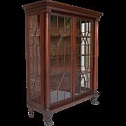Antique American Empire Revival Mahogany Breakfront China Cabinet Mullioned Door