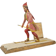 American Folk Art Wood Carving of Laplander Hunter on Skis with Spear