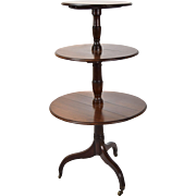 19th Century 3-Tier Mahogany Double-sided Drop Leaf Dumbwaiter Butlers Table
