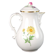 Meissen Hand Painted German Porcelain Flowers Floral Coffee Pot Rosebud Finial