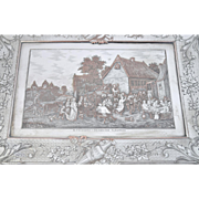 Vintage Engraved Silver Plate Cigar Jewelry Box Flemish Village Celebration Party