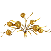 Mid-century Palladio Italian Gilt Metal Wall Hanging Sculpture Hydrangea Flowers