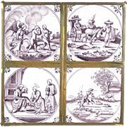 Set of 4 18th Century Delft Manganese Tiles Biblical & Other scenes