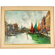 SOLD 1950s Impressionist Oil Painting Venice Canal Scenes Colorful Sailboats Gondolas