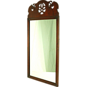 Vintage Chippendale Mahogany Mirror w Scroll Cut Pediment