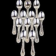 International Kenilworth Solid Sterling Silver Set 11 Tea Spoons 1 Sugar Spoon