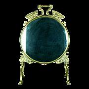 Antique Art Nouveau Brass Firescreen Converted to Dressing Mirror