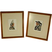 Pair Vintage French Peasant Watercolor Paintings Bretons Brittany Husband & Wife