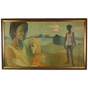 SOLD Mid-century Oil Painting Endless River Pensive Couple by Cobert 1960s