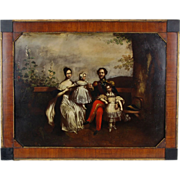 19th Century French Memorial Oil Painting Family Portrait Ferdinand Philippe Orleans Royal ...