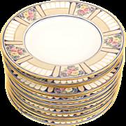 Set 12 Hutschenreuther Art Deco Hand Painted Floral Enamel Service Plates