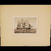 James Baines Black Ball Line Clipper Sailing Tall Ship at Sea Engraving Wilson