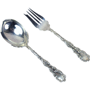 Lot 2 pc Wallace Waverly Solid Berry Casserole Spoon Cold Meat Serving Fork
