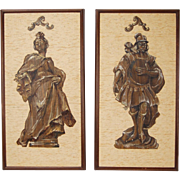 "Pair Mid-Century Figural Paintings ""Austrian Rococo"" Mixed-Media on Grasscloth"