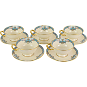 Set 5 Lenox Footed Fountain Pattern Art Deco Enameled Cup & Saucers