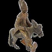 Antique Vienna Orientalist Bronze Figure North African in Fez Riding Donkey