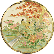 Meiji Period Japanese Satsuma Plate w Japanese Green Pheasants Artist Signed
