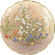 Meiji Period Japanese Satsuma Plate Raised Floral & Birds Decoration Signed