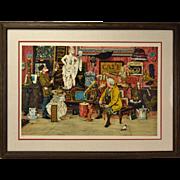Illustrator Bruce Bomberger L/E Lithograph Antique Shop or Flea Market Signed