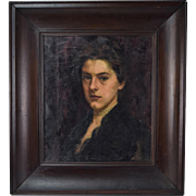 SOLD Circa 1910 Oil Painting Portrait of Pretty Woman by Sarah Turle Minnesota